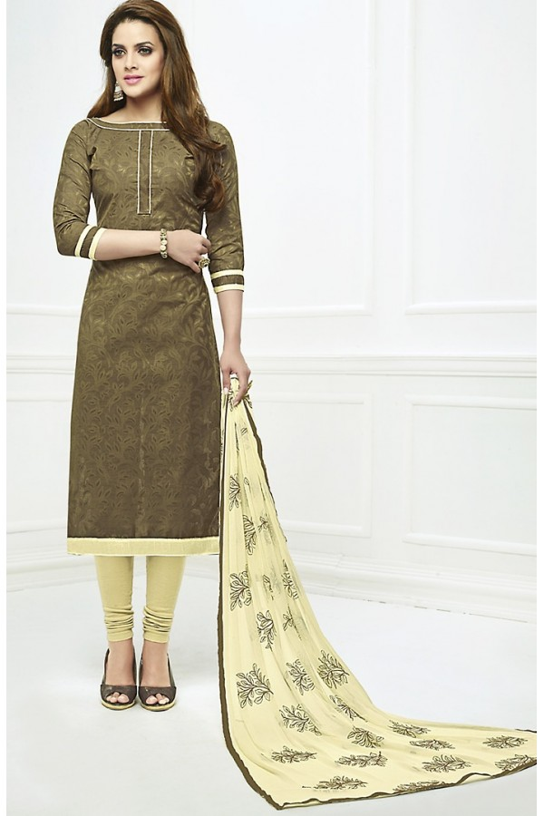 Office Wear Green & Cream Cotton Salwar Suit  - 75229