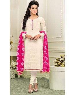 Office Wear White & Pink Cotton Churidar Suit - 75266