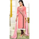 Office Wear Pink Chanderi Silk Churidar Suit - 75274