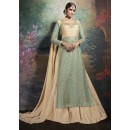 Party Wear Blue & Brown Net Lehenga Suit - 75645