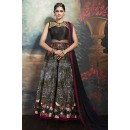 Festival Wear Black Silk Embroidered Anarkali Suit - 75646