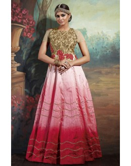 Party Wear Pink Silk Embroidered Gown - 75647