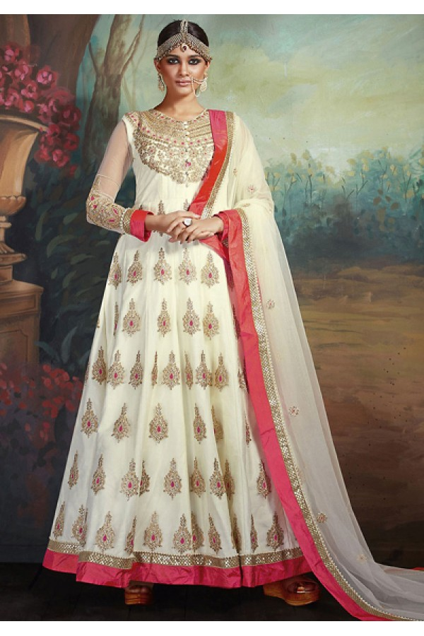 Festival Wear Off White Net Embroidered Anarkali Suit - 75648