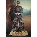 Ethnic Wear Blue & Brown Silk Lehenga Suit - 75651