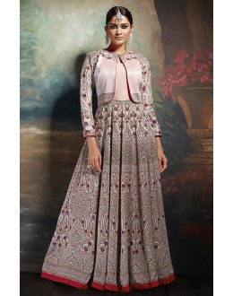 Ethnic Wear Pink Silk Embroidered Anarkali Suit - 75653