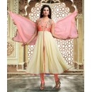Party Wear Cream & Pink Art Silk Anarkali Suit - 75692