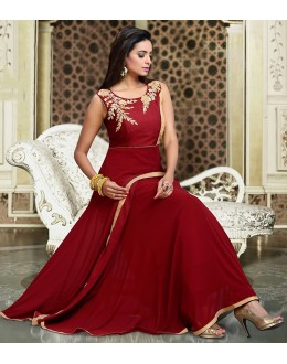Ethnic Wear Maroon Art Silk Anarkali Suit - 75693