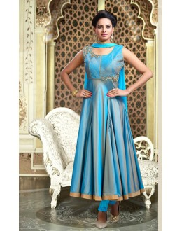 Party Wear Sky Blue Art Silk Anarkali Suit - 75696