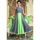 Festival Wear Grey & Green Art Silk Anarkali Suit - 75697