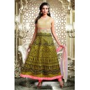 Ethnic Wear Green & Pink Art Silk Anarkali Suit - 75698