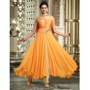 Party Wear Yellow Art Silk Anarkali Suit - 75699