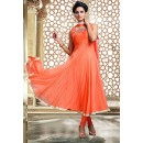 Ethnic Wear Orange Art Silk Anarkali Suit - 75700