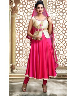 Party Wear Pink Art Silk Anarkali Suit - 75701