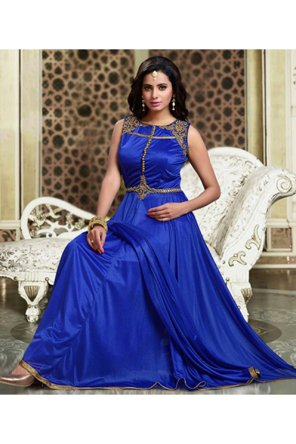 Ethnic Wear Blue Lycra Anarkali Suit - 75703