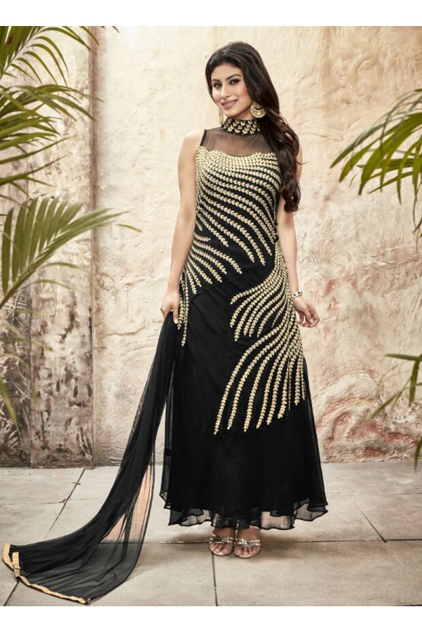 Party wear Black Georgette Salwar suit - 69994
