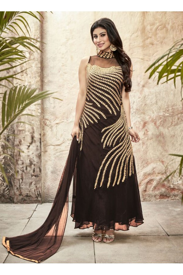 Party wear Brown Georgette Salwar suit - 69997