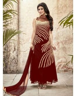 Party wear Maroon Georgette Salwar suit - 69995