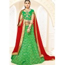 Designer Green & Red Brocade Lehenga Choli - 75814