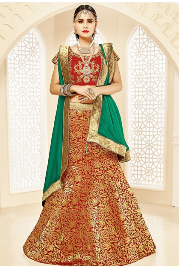 Wedding Wear Maroon & Green Brocade Lehenga Choli - 75815