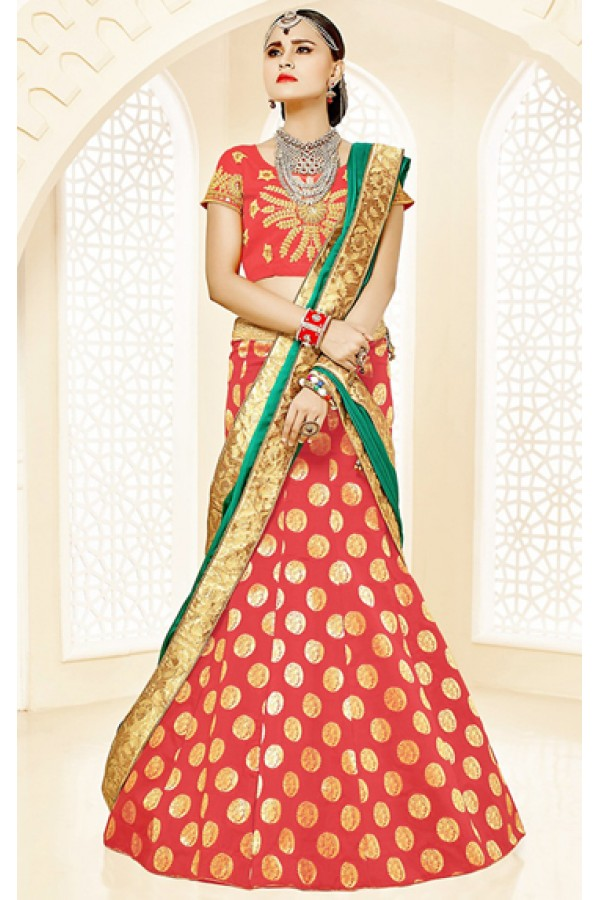 Festival Wear Red & Green Brocade Lehenga Choli - 75817