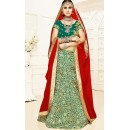Designer Green & Red Brocade Lehenga Choli - 75818