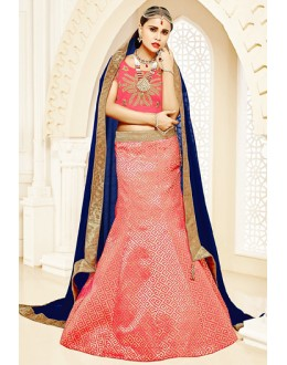 Festival Wear Pink & Blue Brocade Lehenga Choli - 75819