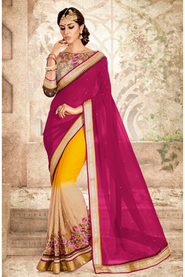 Party Wear Multicolour Georgette Saree  - 75827