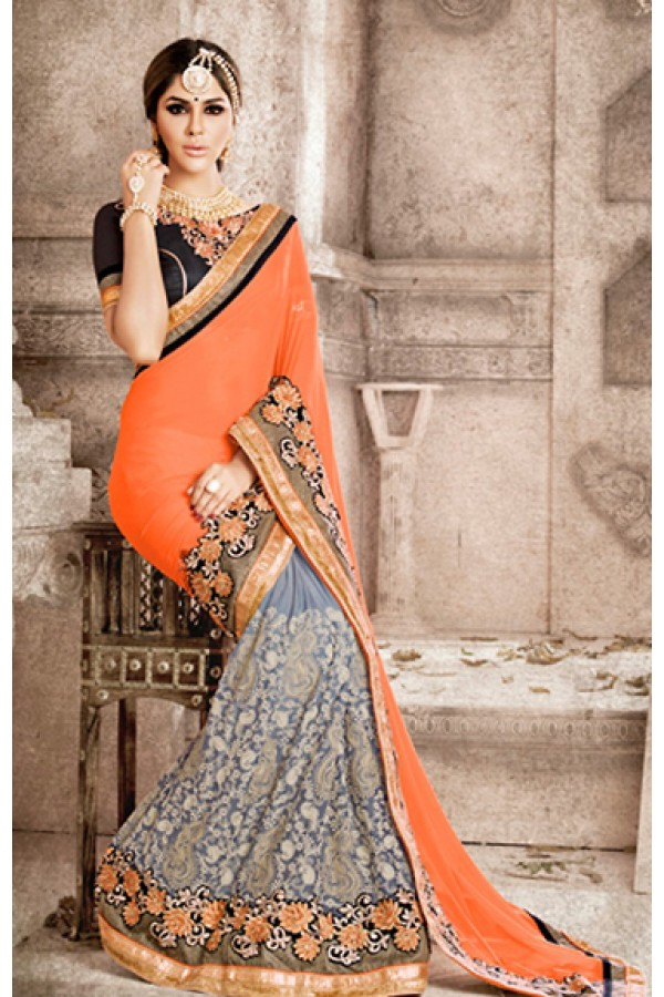 Ethnic Wear Orange & Grey Georgette Saree  - 75829