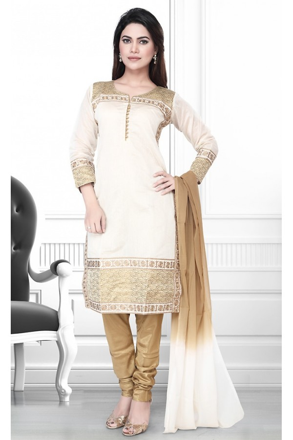 Party Wear Readymade Off White & Brown Salwar Suit - 75902