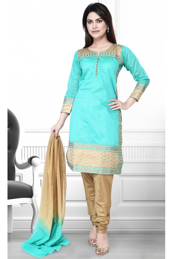 Ethnic Wear Readymade Turquoise & Brown Salwar Suit - 75903