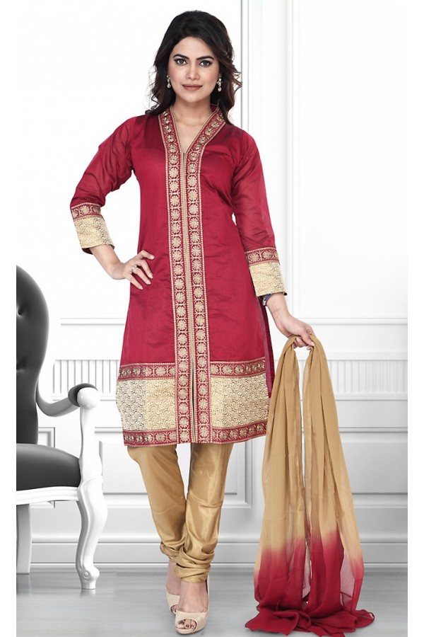 Party Wear Readymade Red & Brown Salwar Suit - 75906