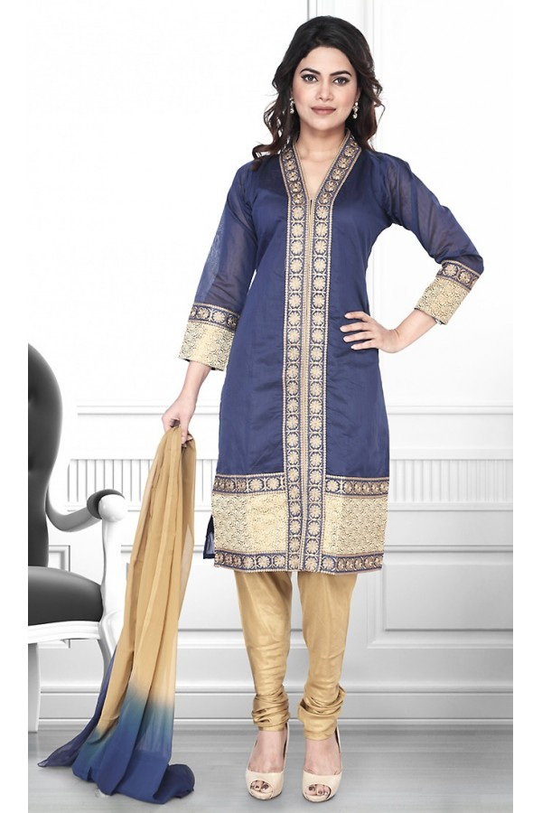 Ethnic Wear Readymade Blue & Brown Salwar Suit - 75907