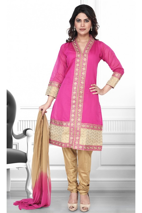 Party Wear Readymade Pink & Brown Salwar Suit - 75908