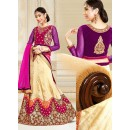 Festival Wear Cream & Pink Silk Lehenga Choli - 75913
