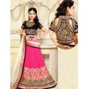 Wedding Wear Pink & White Chiffon Lehenga Choli - 75918
