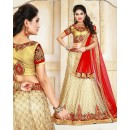 Wedding Wear Beige & Red Net Lehenga Choli - 75920