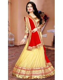 Festival Wear Beige & Red Lycra Lehenga Choli - 75937