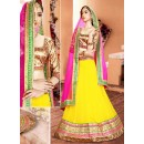 Traditional Yellow & Pink Lycra Lehenga Choli - 75938