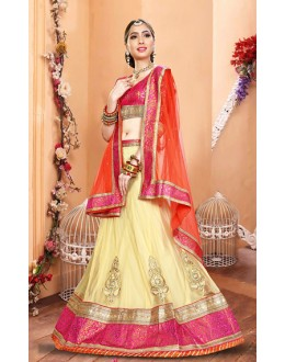 Festival Wear Beige & Orange Net Lehenga Choli - 75940