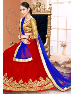 Festival Wear Red & Blue Net Lehenga Choli - 75946