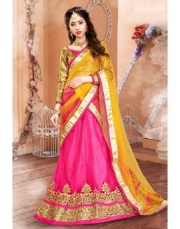 Festival Wear Pink & Yellow Net Lehenga Choli - 75948