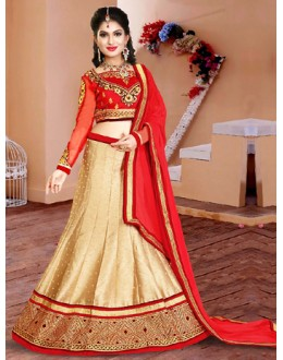Festival Wear Beige & Red Silk Lehenga Choli - 75954