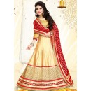 Designer Beige & Red Silk Lehenga Choli - 75981