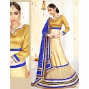 Traditional Beige & Blue Silk Lehenga Choli - 75982