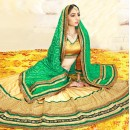 Ethnic Wear Beige & Green Silk Lehenga Choli - 75984