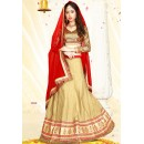 Festival Wear Beige & Red Silk Lehenga Choli - 75985