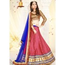 Traditional Pink & Blue Silk Lehenga Choli - 75986
