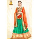 Ethnic Wear Green & Orange Silk Lehenga Choli - 75987