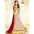 Wedding Wear Beige & Red Fancy Lehenga Choli - 75990