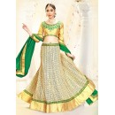 Designer Beige & Green Fancy Lehenga Choli - 75991